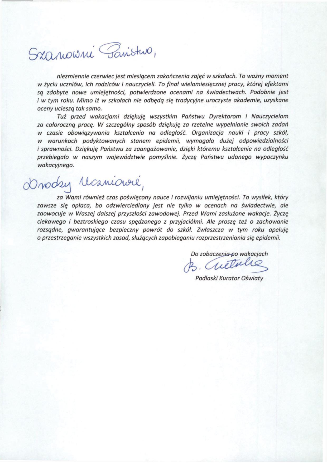 List Podlaskiego Kuratora Oświaty na zakończenie roku szkolnego