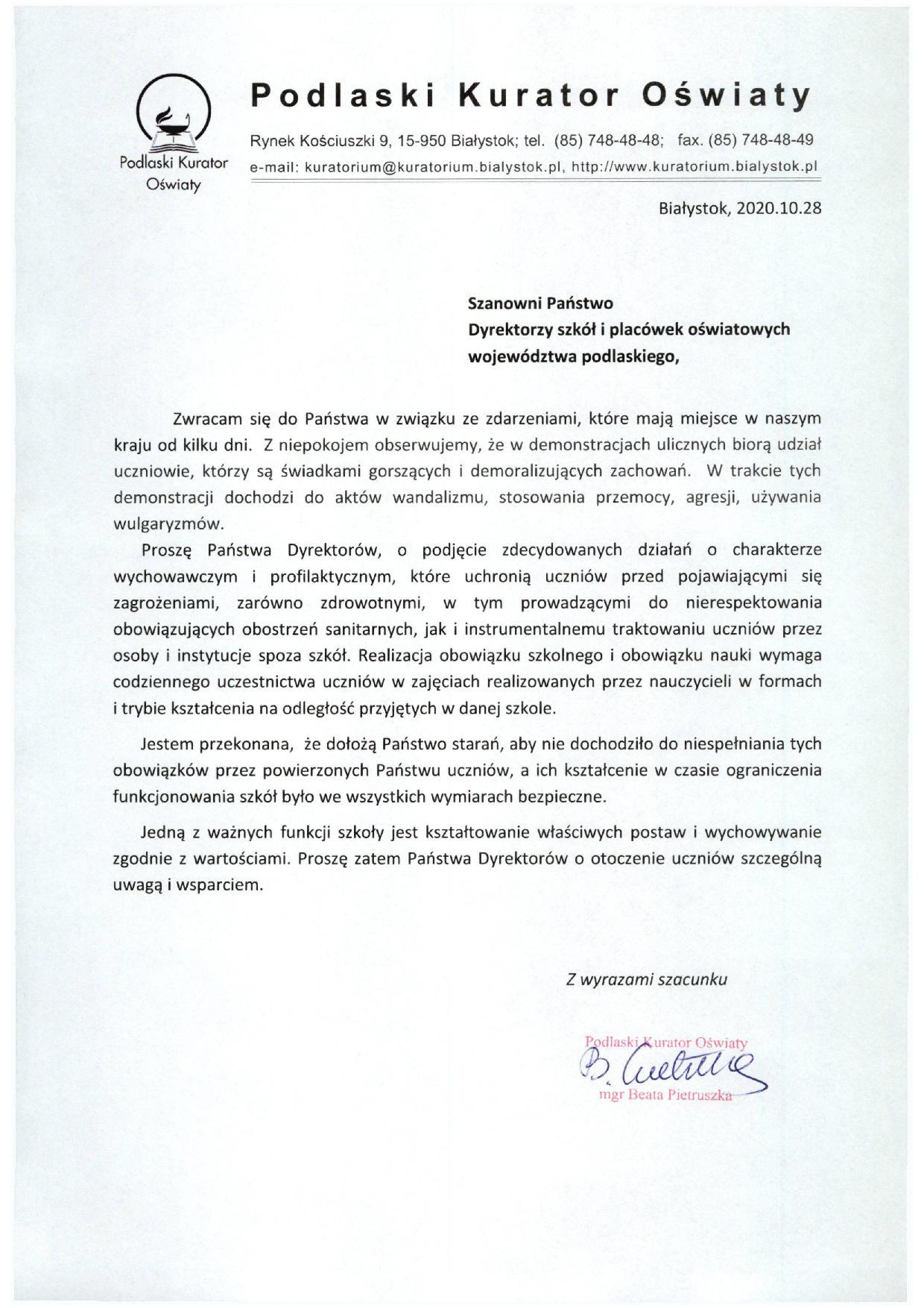 List do dyrektorów szkół i placówek oświatowych województwa podlaskiego
