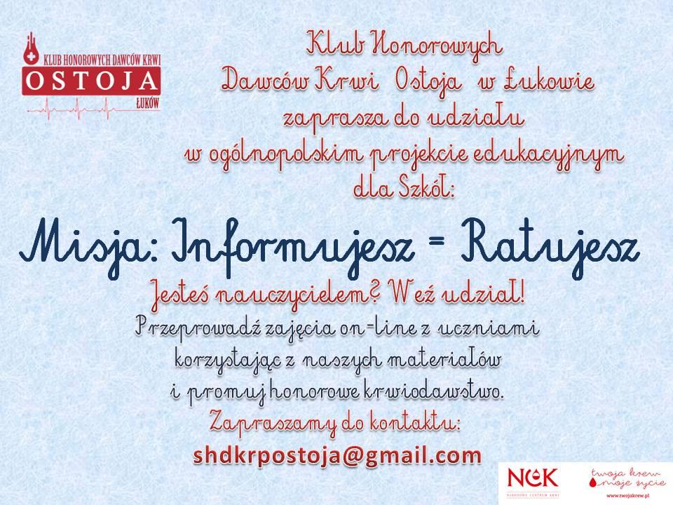 Zaproszenie Misja Informujesz Ratujesz