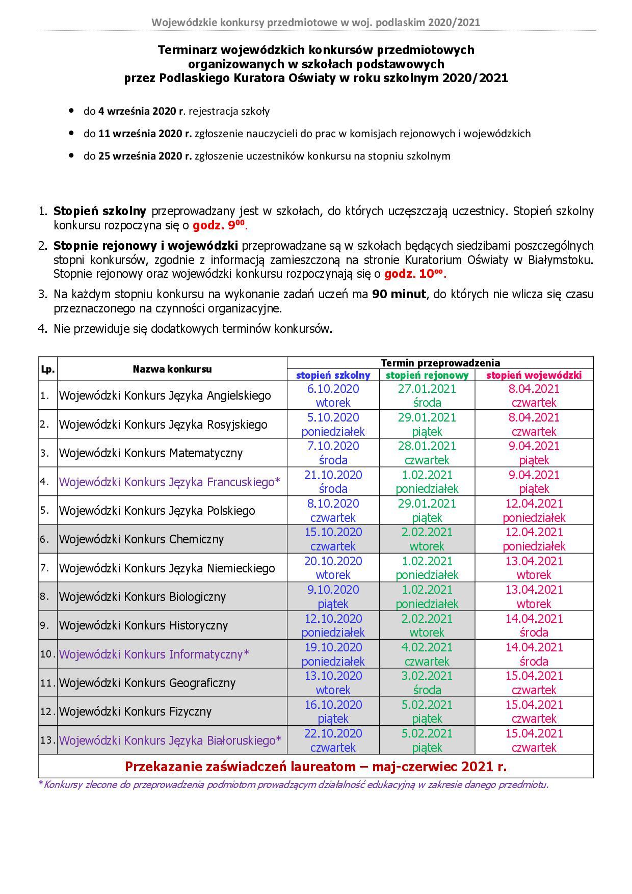 Terminarz 2020-2021 zmiana wersja III
